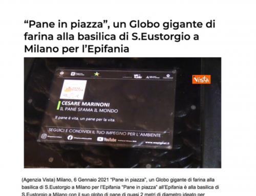 """Il Messaggero – """"Pane in piazza"""", un globo gigante alla basilica di S.Eustorgio a Milano per l'Epifania"""